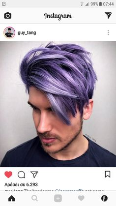 Not so dark/deep and blue but this is real close too - Hair Reference - Lilac Hair Men Purple Hair, Lilac Hair, Hair Color Purple, Pastel Hair, Blue Hair, Mens Hair Colour, Cool Hair Color, Hair And Beard Styles, Short Hair Styles