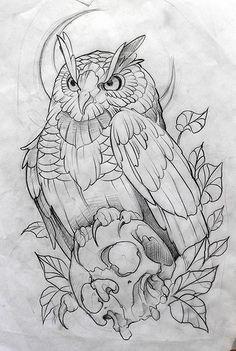 Desenho by Fredão Tatto Drawings – Top Fashion Tattoos Owl Tattoo Drawings, Art Drawings Sketches, Tattoo Sketches, Animal Drawings, Drawings Of Owls, Skull Tattoos, Animal Tattoos, Body Art Tattoos, Horse Tattoos