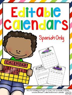 Grab these EDITABLE calendars in SPANISH only for the upcoming school year and many more to come. You can customize the date and use these calendars for as long as you are teaching. Calendars are in black and white and also come in color.