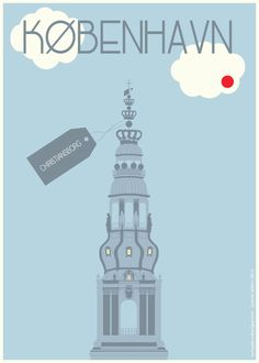 Christiansborg Baby Blue Dot - Poster 50x70cm or 30x40cm