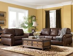 Traditional Living Room Furniture Design   I Love The Brown Leather Couches  And The Extra Storage Part 68