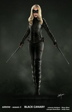 It only took three seasons and her sister's grizzly death to make Laurel (Katie Cassidy) take on the Black Canary mantle. Hit the jump to check out a Black Canary costume illustration that Arrow conceptual artist Andy Poon created. Flash And Arrow, Marvel Dc, Heroes Dc Comics, Black Canary Costume, Cassidy Black, Arrow Black Canary, White Canary, Dinah Laurel Lance, Mode Kawaii