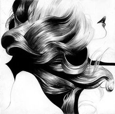 hair illustration black and white Art And Illustration, Illustrations Posters, Claude Monet, Costume Noir, Rides Front, Art Girl, Amazing Art, Cool Art, Art Drawings