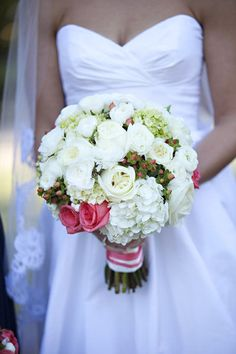 white bouquet with a hint of pink