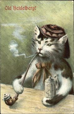 Old Heidelberg Cat Smoking Pipe Cats