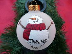 Personalized Hand Painted Snowman Christmas Ornament Ball