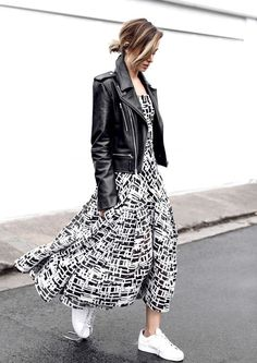long dress and leather jacket with white sneakers
