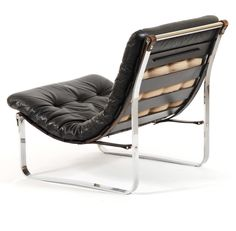 Ingmar Relling; Leather, Chromed Metal and Lacquered Wood Lounge Chair for Westnofa, c1970.