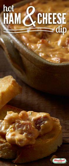 The Ham & Cheese love affair heats up. Dip bread in the hot ham & cheese dip… Yum!