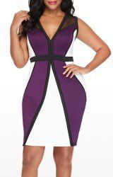 Sexy Plunging Neck Sleeveless Color Block Plus Size Women's Dress