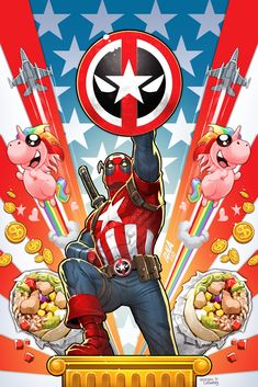 DEADPOOL is…CAPTAIN AMERICA? Well, for my new variant cover he is! (Captain Deadpool maybe?) Marvel's announced a series of Deadpool variants for comics shipping in May, and this. Marvel Comics Art, Bd Comics, Marvel Memes, Deadpool Wallpaper, Marvel Wallpaper, Deadpool Art, Comic Character, Captain Marvel, Captain America Art