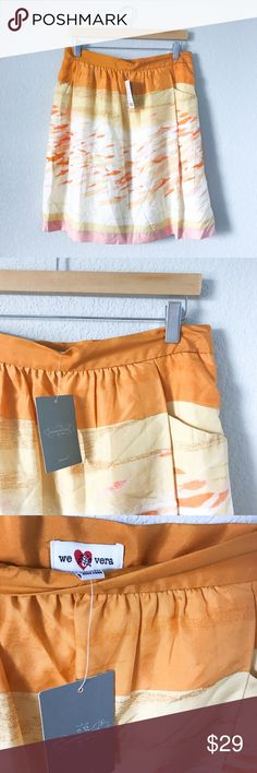 NWT Anthropologie We ❤️ Vera 100% Silk Skirt Brand new with tags! Anthropology brand weheartvera or we❤️Vera. Style is called the Fish Bowl. Color block and printed design. Multiple shades of yellow, orange, and pink. This amazing skirt is 100% silk and the lining is 100% Cotton. And yes, it has pockets! Made in Hong King. Size 12. Measurements: Waist-15inch Length-21.5inch. Anthropologie Skirts Midi