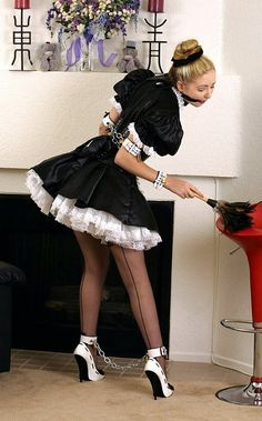 French Maid Sheer Black Stockings White Ankle Strap High Heels