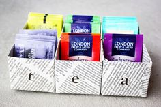 DIY Tea Box out of milk cartons and newspaper!