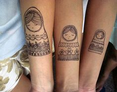 like idea of sized dolls but may use another image like owls or something. (Sister tattoos??!)