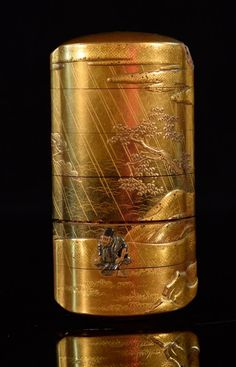 Japanese Lacquer Inro with Mixed Metal