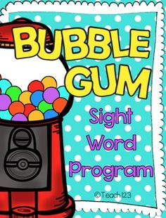 Sight Words - Bubble Gum Words -EDITABLE: You will be surprised at the progress your students make with this program. You will test your students each week. This is like a weekly progress report. There will be some weeks when students will not progress to the next row of words because they did not study that week. When the student and parent see this, they work harder the next week. This motivates the students and parents on a weekly basis. It keeps them engaged! paid #SightWords