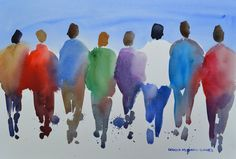 Passion People VI Original Watercolor Painting by ArtistRMG, $259.00