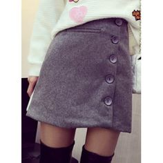 Chic Style Solid Color Button Design Bodycon Skirt For Women (GRAY,L) in Skirts | DressLily.com