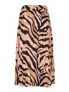 Earths Texture Zebra Print Pleated Midi Skirt | Oliver Bonas Zebra Print, Animal Print Rug, Earth Texture, Spirit Clothing, Pleated Midi Skirt, Oliver Bonas, Skirts, Pink, Black