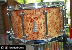 #Repost @bradydrums with @repostapp.  BRADY 14 x 8 Australian Poplar Burl gloss finish snare from the Walkabout Series.  We'll keep sharing all the photos from the #Brady archives of the fantastic snare #drums and #drumkits we handcrafted until Chris Brady resumes crafting drums again. Thanks to all of the #drummers and #drumshops around the world for all of your support!  Nothing sounds like a Brady!  #bradydrums #bradysnare #bradydrumsaustralia #bradysnares #snaredrum #jarrah #jarrahply…