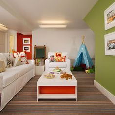 Green Wall With Primary Colors