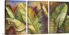 "Split into a Three Panel (Triptych) canvas print, Patricia Pinto's ""Through the Leaves I"" provides a close look at magnificent green leaves. Find thousands of wall art images at GreatBIGCanvas.com"