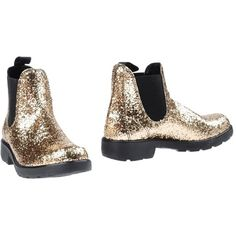 Gei Gei Ankle Boots ($101) ❤ liked on Polyvore featuring shoes, boots, ankle booties, gold, glitter ankle boots, round toe booties, glitter bootie, round cap and rubber sole boots