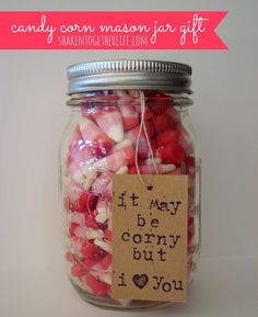 adorable Valentine candy corn mason jar gift :: {create this} at shaken together.I need this from my hubby! I LOVE candy corn! Homemade Valentines, Valentine Day Love, Valentine Day Crafts, Valentine Ideas, Funny Valentine, Valentines Recipes, Teacher Valentine, Valentine Desserts, Printable Valentine