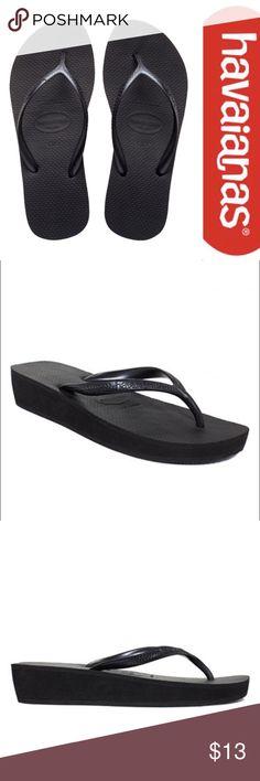 NWT Black Havianas High Light Wedge Flip Flops 4/5 Brand new with tags Black Havianas High Light Wedge Flip Flops. Size 4/5 (Youth/Kids). Havaianas Shoes Sandals & Flip Flops