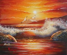 Sunset at Sounio: Handmade Original Acrylic Painting on Canvas Panel. Acrylic Painting Canvas, Oil On Canvas, Natural Hair Brush, Handmade Items, Handmade Gifts, Sunset, The Originals, Oil Paintings, Art Ideas