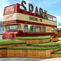 There's a new event space opening up this month in San Francisco's Mission Bay. Spark Social #SF was designed to bring together the neighborhood in a warm and welcoming space that includes a beer and sangria garden, spaces for gatherings, and a rotating selection of more than 150 local #food trucks. The venue, developed by the SoMa StrEat Food Park team and designed by LMNOP Design, also features swings, fire pits, a relaxing grassy knoll, outdoor games, and a vintage double decker bus…