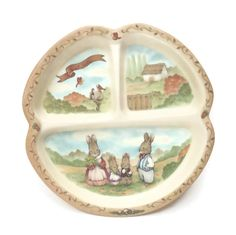 Vintage Melamine Plate Toddler Plate Divided Plate Peco Melamine Country Baby Gift  sc 1 st  Pinterest & Vintage Winnie The Pooh Plate Round Divided Child\u0027s Plate Disney ...