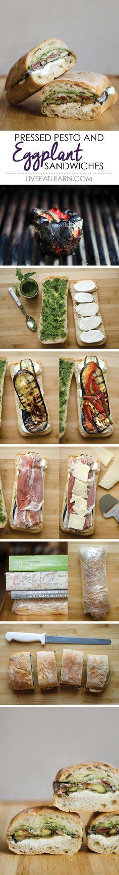 Pressed eggplant sandwiches with roasted red bell pepper, zucchini, buffalo mozzarella, prosciutto, and homemade pesto, on a ciabatta bread // Live Eat Learn