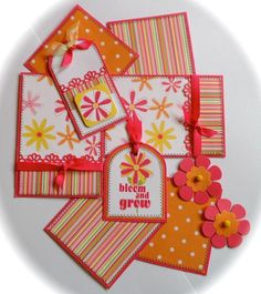 BLOOM AND GROW Premade Scrapbook Page Mat Set *sewn*