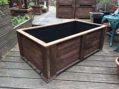 Garden Trough flower or vegetable Planter on feet - Hand made from Reclaimed wood - Large