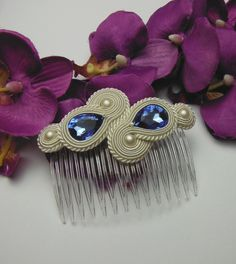 Great gift for soutache lovers. A beautiful, crystal earrings, comb and bracelet set, hand-crafted and self-designed, created using a time-consuming soutache technique – a unique product by Soutacheria via en.DaWanda.com