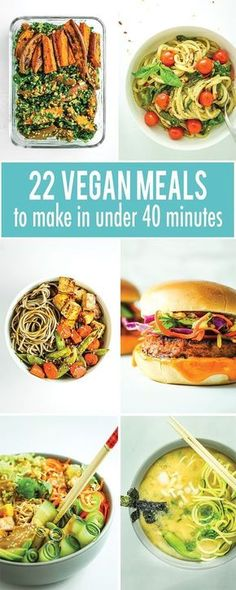 22 Vegan Meals To Make In Under 40 Minutes from Stir fries pasta soup and burgers all of these vegan recipes can be made in under 40 minutes This is the ultimate list of dinners to make on busy weeknights meal prep or for date night in on the weekend Veggie Recipes, Whole Food Recipes, Vegetarian Recipes, Cooking Recipes, Healthy Recipes, Healthy Vegan Meals, Pasta Recipes, Vegan Weeknight Meals, Vegan Food List