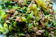 Salad containing fish meat