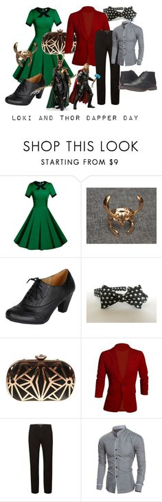 """""""Loki and Thor Dapper Day Couple"""" by princessestrada ❤ liked on Polyvore featuring Marvel Comics, Allegra K, Topman and Tommy Hilfiger"""