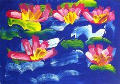Monet Water Lilies -Kindergarten, could do long piece as collaborative work Kindergarten Art Projects, Classroom Art Projects, School Art Projects, Art Classroom, In Kindergarten, Claude Monet, Square 1 Art, Art Curriculum, Spring Art