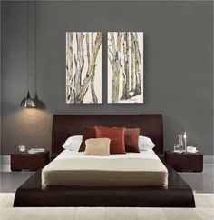 Greige Neutral Extra Large Wall Art Diptych Set Canvas Print Tree Unique Large Artwork For Living Room Review