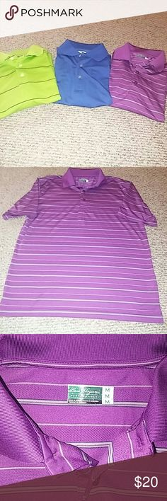 Mens Golf bundle 3 for 1 golf shirts  1 grand slam shirt blue  2 Ben Hogan Shirts one purple and one green. Green has small spot in front Shirts