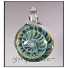 Glass Spiral Imploison Pendant - Boro Lampwork Bead by Glass Peace $15.95