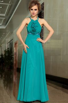 2015 New Style Dark Green Chiffon A-line Evening Dress Prom Gown