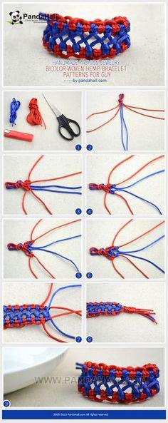 Jewelry Making Tutorial--DIY Bicolor Woven Hemp Bracelet for Guys   PandaHall Beads Jewelry Blog