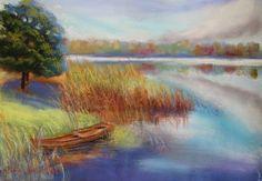 pastel painting landscape maastik pastellmaal Eestimaa estonia paat järvel Keiu Kuresaar