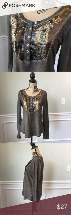 9716cce5e307 Free People Mermaid Sequin Top Sz M ??? Olive Grey Free People Mermaid  Sequin