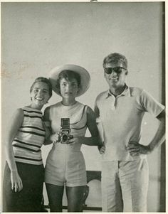 John F. Kennedy is pictured with his wife Jackie and sister-in-law Ethel Kennedy in 1954