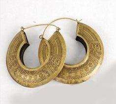 dangle brass boho earrings | Engraved Antique Brass Egyptian BOHO Hoop Earrings Completed